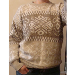Vintage warm fair isle dad grandpa sweater M 90's